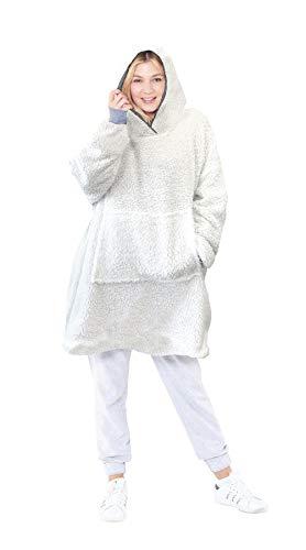 Eskimo Oversized Sherpa Hoodie Sweatshirt Blanket - Warm and Cozy - Reversible with Pockets Grey 6