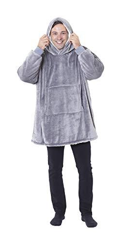 Eskimo Oversized Sherpa Hoodie Sweatshirt Blanket - Warm and Cozy - Reversible with Pockets Grey 7