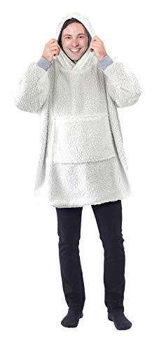 Eskimo Oversized Sherpa Hoodie Sweatshirt Blanket - Warm and Cozy - Reversible with Pockets Grey 8