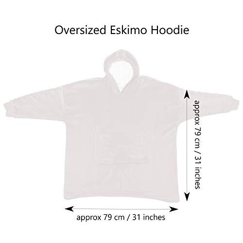 Eskimo Oversized Sherpa Hoodie Sweatshirt Blanket - Warm and Cozy - Reversible with Pockets Grey 9