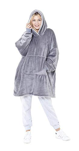 Eskimo Oversized Sherpa Hoodie Sweatshirt Blanket - Warm and Cozy - Reversible with Pockets Grey 1