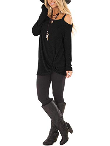 Famulily Womens Casual Cold Shoulder Long Sleeve Front Twist Tops 3