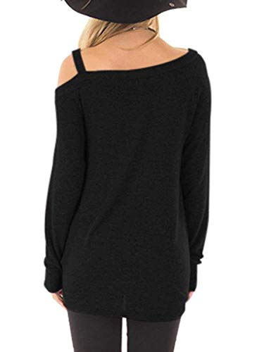 Famulily Womens Casual Cold Shoulder Long Sleeve Front Twist Tops 4