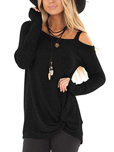 Famulily Womens Casual Cold Shoulder Long Sleeve Front Twist Tops 1