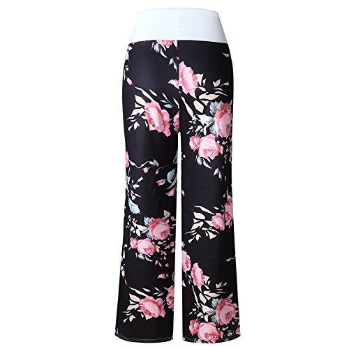 Famulily Women's Casual Floral Wide Leg Pajama Lounge Pants 3