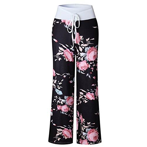 Famulily Women's Casual Floral Wide Leg Pajama Lounge Pants 5