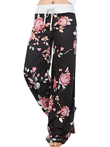 Famulily Women's Casual Floral Wide Leg Pajama Lounge Pants 1