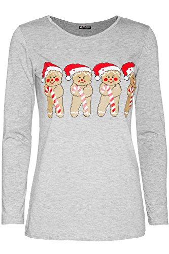 Fashion Star Womens Christmas Santa Snowman Snowflake Reindeer Long Sleeve Xmas Tshirt Top 1