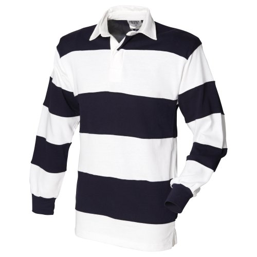 Front Row Sewn Stripe Long Sleeve Sports Rugby Polo Shirt 3