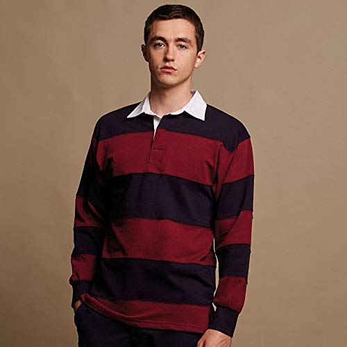 Front Row Sewn Stripe Long Sleeve Sports Rugby Polo Shirt 4