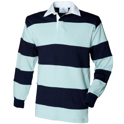 Front Row Sewn Stripe Long Sleeve Sports Rugby Polo Shirt 5