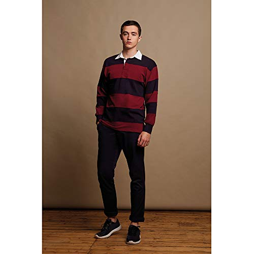 Front Row Sewn Stripe Long Sleeve Sports Rugby Polo Shirt 6