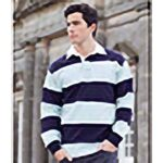 Front Row Sewn Stripe Long Sleeve Sports Rugby Polo Shirt 26