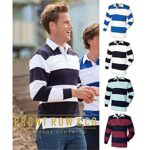 Front Row Sewn Stripe Long Sleeve Sports Rugby Polo Shirt 27
