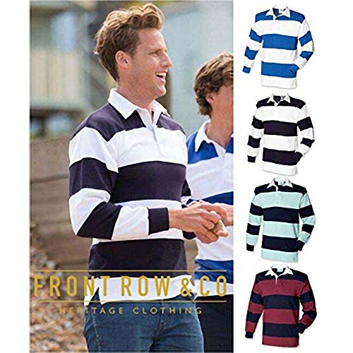 Front Row Sewn Stripe Long Sleeve Sports Rugby Polo Shirt 8