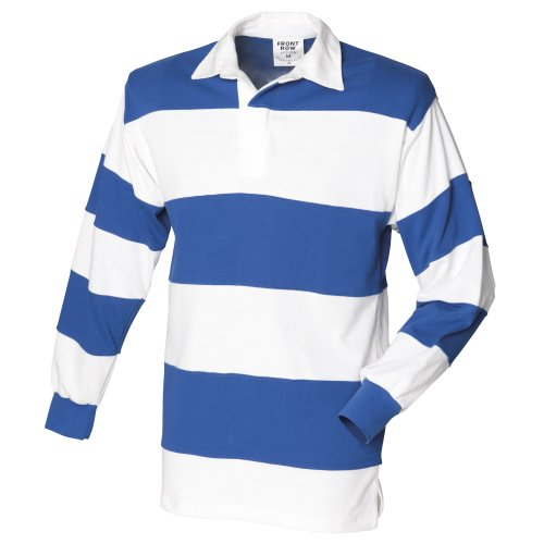 Front Row Sewn Stripe Long Sleeve Sports Rugby Polo Shirt 9