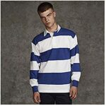 Front Row Sewn Stripe Long Sleeve Sports Rugby Polo Shirt 29