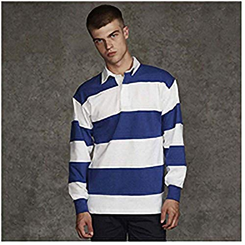 Front Row Sewn Stripe Long Sleeve Sports Rugby Polo Shirt 10