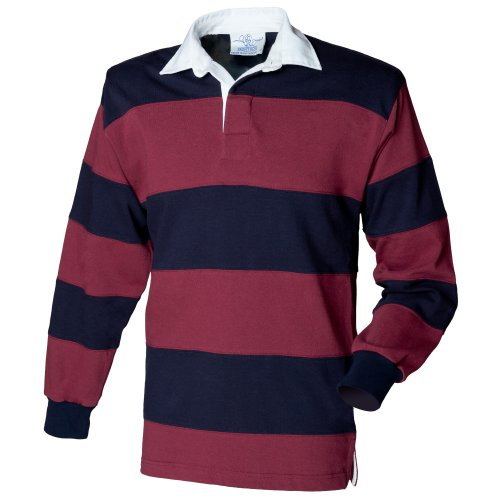 Front Row Sewn Stripe Long Sleeve Sports Rugby Polo Shirt 1