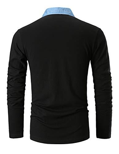 GHYUGR Men's Long Sleeve Polos Casual Tops Denim Splice Golf T-Shirt Poloshirts 3