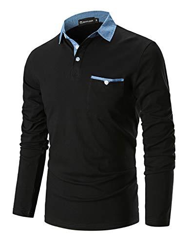 GHYUGR Men's Long Sleeve Polos Casual Tops Denim Splice Golf T-Shirt Poloshirts 4