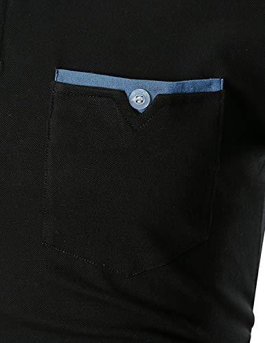GHYUGR Men's Long Sleeve Polos Casual Tops Denim Splice Golf T-Shirt Poloshirts 5