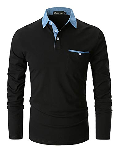 GHYUGR Men's Long Sleeve Polos Casual Tops Denim Splice Golf T-Shirt Poloshirts 1