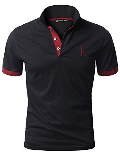 GHYUGR Men's Short Sleeve Polo Shirts Giraffe Contrasting Colors Golf Tennis T-Shirt 4