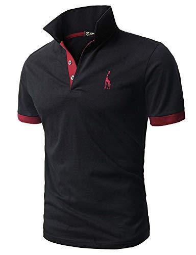 GHYUGR Men's Short Sleeve Polo Shirts Giraffe Contrasting Colors Golf Tennis T-Shirt 2