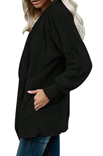 GOSOPIN Womens Solid Zipper Hooded Fluffy Cardigan Coat Long Sleeve Suits Outwear with Pocket 3