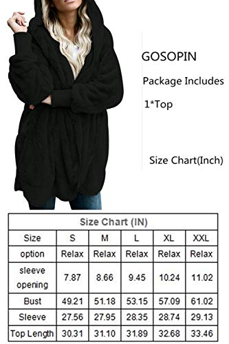 GOSOPIN Womens Solid Zipper Hooded Fluffy Cardigan Coat Long Sleeve Suits Outwear with Pocket 4