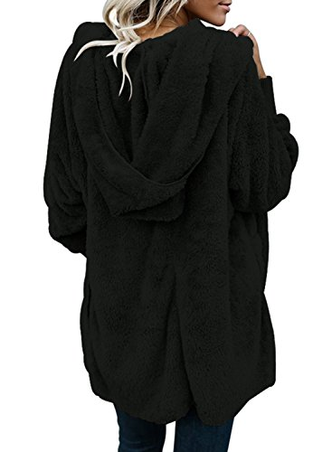 GOSOPIN Womens Solid Zipper Hooded Fluffy Cardigan Coat Long Sleeve Suits Outwear with Pocket 5