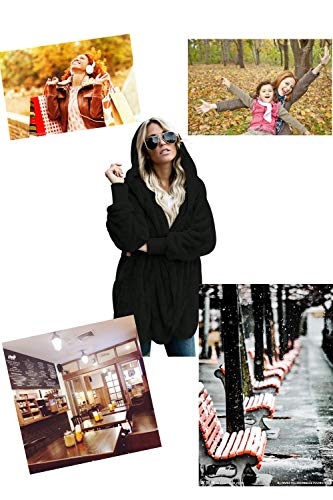 GOSOPIN Womens Solid Zipper Hooded Fluffy Cardigan Coat Long Sleeve Suits Outwear with Pocket 7