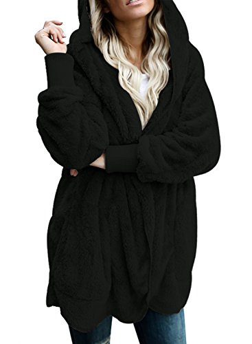 GOSOPIN Womens Solid Zipper Hooded Fluffy Cardigan Coat Long Sleeve Suits Outwear with Pocket 1