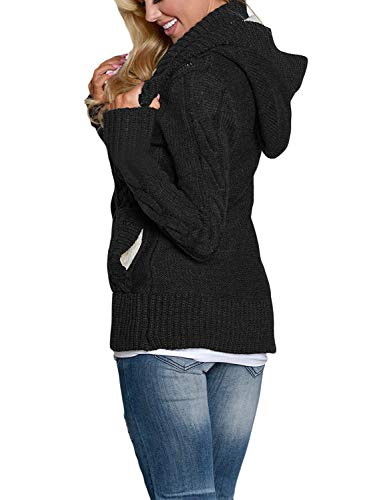 GOSOPIN Womens Winter Warm Cable Knitted Outwear Button-up Hooded Cardigans Fleece Sweater Jackets Coat S-XXL 3