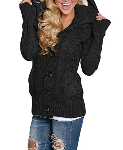 GOSOPIN Womens Winter Warm Cable Knitted Outwear Button-up Hooded Cardigans Fleece Sweater Jackets Coat S-XXL 6