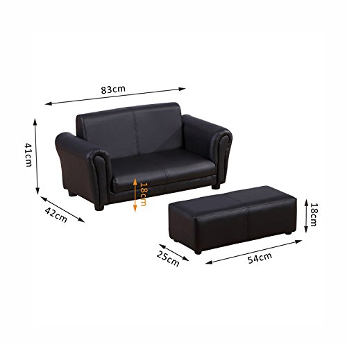 HOMCOM 2 Seater Kids Twin Sofa Childrens Double Seat Chair Furniture Armchair Boys Girls Couch w/Footstool (Black) 5