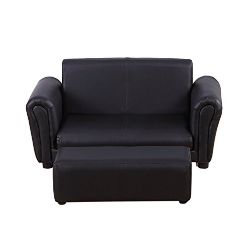 HOMCOM 2 Seater Kids Twin Sofa Childrens Double Seat Chair Furniture Armchair Boys Girls Couch w/Footstool (Black) 6