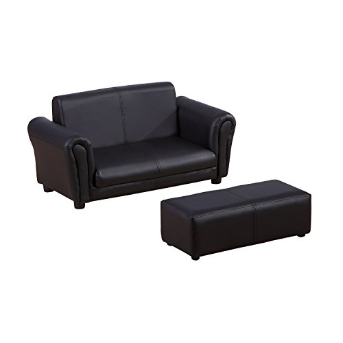 HOMCOM 2 Seater Kids Twin Sofa Childrens Double Seat Chair Furniture Armchair Boys Girls Couch w/Footstool (Black) 7