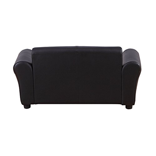 HOMCOM 2 Seater Kids Twin Sofa Childrens Double Seat Chair Furniture Armchair Boys Girls Couch w/Footstool (Black) 8
