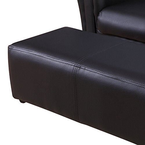 HOMCOM 2 Seater Kids Twin Sofa Childrens Double Seat Chair Furniture Armchair Boys Girls Couch w/Footstool (Black) 10