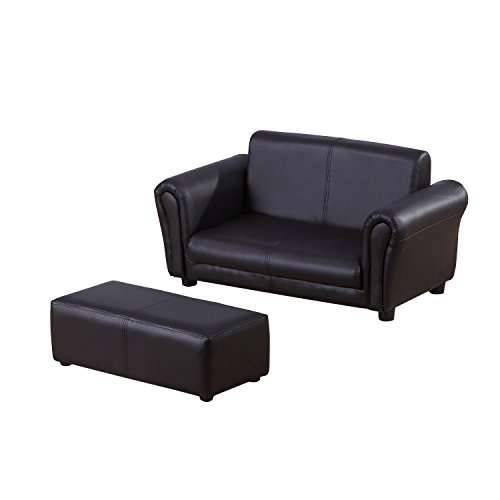 HOMCOM 2 Seater Kids Twin Sofa Childrens Double Seat Chair Furniture Armchair Boys Girls Couch w/Footstool (Black) 1