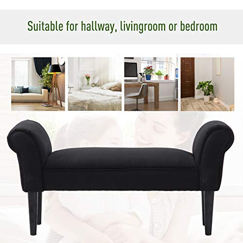 HOMCOM Small-sized Bed End Side Chaise Lounge Sofa Window Seat Arm Bench Wooden Leg Fabric Cover (Black) 3