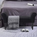 HOMCOM Small-sized Bed End Side Chaise Lounge Sofa Window Seat Arm Bench Wooden Leg Fabric Cover (Black) 24