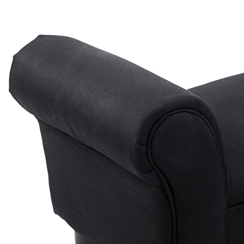 HOMCOM Small-sized Bed End Side Chaise Lounge Sofa Window Seat Arm Bench Wooden Leg Fabric Cover (Black) 9