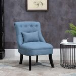 HOMCOM Fabric Single Sofa Dining Chair Tub Chair Upholstered W/Pillow Solid Wood Leg Home Living Room Furniture Blue 22