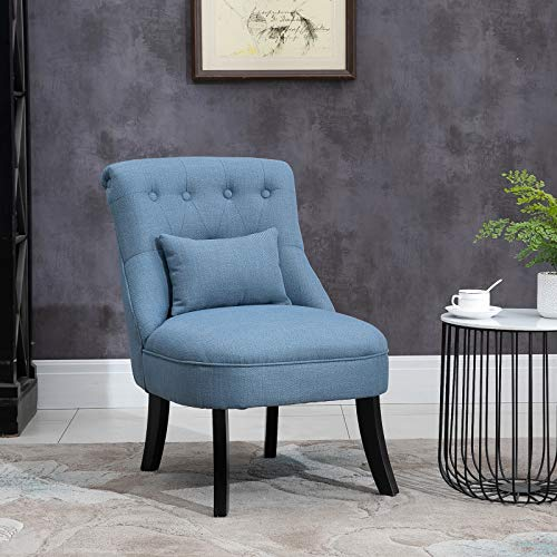 HOMCOM Fabric Single Sofa Dining Chair Tub Chair Upholstered W/Pillow Solid Wood Leg Home Living Room Furniture Blue 3