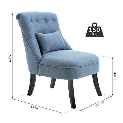 HOMCOM Fabric Single Sofa Dining Chair Tub Chair Upholstered W/Pillow Solid Wood Leg Home Living Room Furniture Blue 4