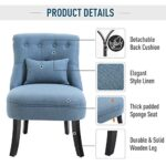 HOMCOM Fabric Single Sofa Dining Chair Tub Chair Upholstered W/Pillow Solid Wood Leg Home Living Room Furniture Blue 24