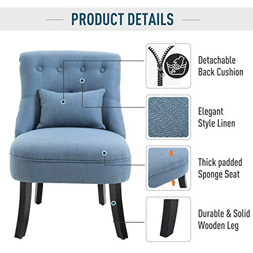 HOMCOM Fabric Single Sofa Dining Chair Tub Chair Upholstered W/Pillow Solid Wood Leg Home Living Room Furniture Blue 5